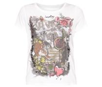 T-Shirt mit Tiger-Print und Ziersteinen