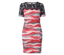 Kleid mit Webpelz-Print und Spitze