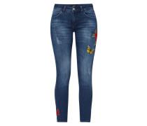 Stone Washed Slim Fit Jeans mit Stickereien
