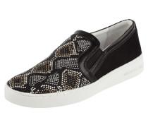 Slip-On Sneaker aus Leder im Ethno-Look