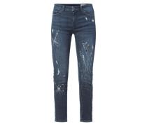 Skinny Fit Jeans mit dekorativen Farbklecksen