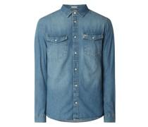 Regular Fit Jeanshemd aus Baumwolle - Recycled Denim