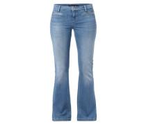 Stone Washed Flared Cut Jeans aus leichtem Denim