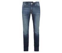 Slim Fit Jeans mit Kontrastnähten