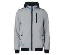 Softshell-Jacke mit Kontrastblende und Kapuze