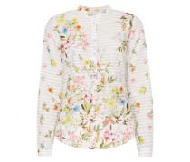 Blusenshirt mit Streifenmuster und floralen Details