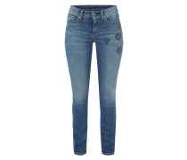 Used Look Jeans mit Ziersteinbesatz
