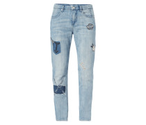 Stone Washed Loose Fit Jeans mit Aufnähern