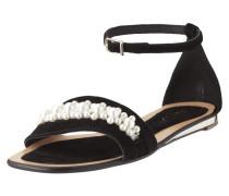 Sandalen aus Veloursleder mit Zierperlenbesatz