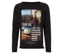 Sweatshirt mit offenen Nähten und Foto-Print