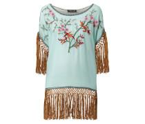 Blusenshirt mit floralen Stickereien und Fransen