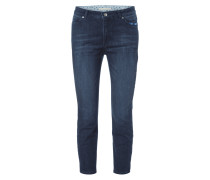 Stone Washed Ankle Cut Jeans mit Stickereien