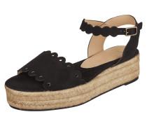 Sandalette aus Veloursleder mit Plateausohle