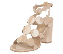 Sandalette aus Lackleder mit rundem Absatz