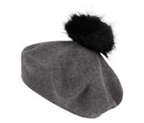 Baskenmütze mit Bommel aus Webpelz