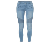 Stone Washed Skinny Fit Jeans im Biker-Look