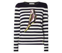 Pullover mit eingestricktem Motiv und Streifen