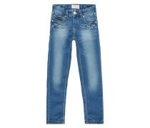 Stone Washed Slim Fit Jeans mit Ziersteinbesatz