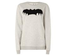 Boyfriend Fit Sweatshirt mit Fledermaus-Flockprint