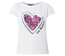 T-Shirt mit Herz aus Pailletten