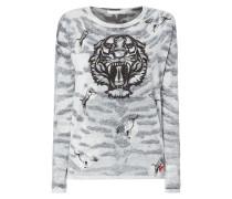 Pullover mit Tigermuster und Ziersteinen