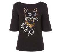 Shirt mit Katzen-Stickerei