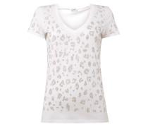 T-Shirt mit Leopardenmuster aus Nieten