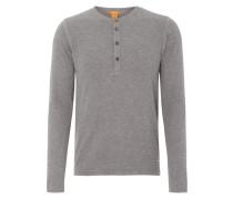 Slim Fit Serafino-Shirt mit Webstruktur