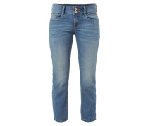 Stone Washed Slim Fit Jeans in 7/8-Länge