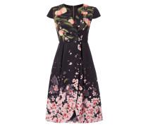 Kleid in Wickeloptik mit Allover-Muster