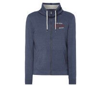 Sweatjacke mit Tube Collar - meliert
