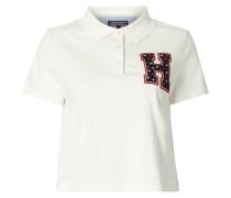 Cropped Poloshirt mit Logo-Aufnäher