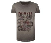 T-Shirt mit Print und Destroyed-Effekten