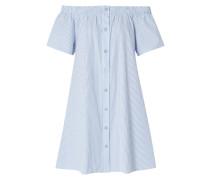 Off Shoulder Hemdblusenkleid mit Streifenmuster