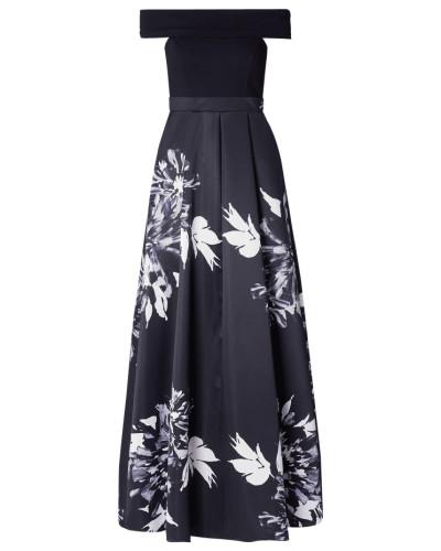 Off Shoulder Abendkleid mit floralem Muster