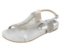 Sandalen mit Lederriemen in Metallicoptik