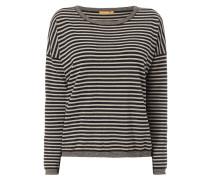 Pullover mit Streifenmuster in Melangeoptik