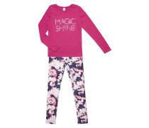 Pyjama mit Message-Print und floralem Muster