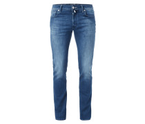 Regular Fit Stone Washed Jeans mit Knopfleiste
