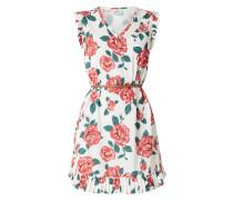 Kleid aus Krepp mit Rosenmuster