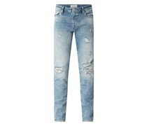 Slim Fit Jeans im Destroyed Look mit Stretch-Anteil Modell 'Glenn'