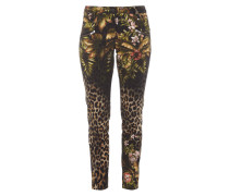 5-Pocket-Jeans mit Leoparden- und Dschungelmuster