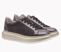 "Brunello Cucinelli Sneaker - Sneakers Aus Flanell Und ""Shiny Texture Leather"""