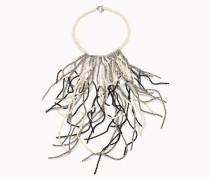 """Brunello Cucinelli Halskette - Halskette """"Tricolor Waterfall"""" Aus Palladio-Glas, River Stone Und Schwarzem Achat"""