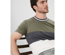 Rundhals-T-Shirt in Colorblock in Slim Fit