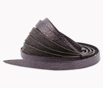"Brunello Cucinelli Gürtel - Gürtel ""Shiny Ribbon"" Aus Metallfäden Und Kalbleder ""Shiny Texture"""
