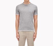 Brunello Cucinelli Kurzärmliges T-Shirt - Slim Fit-T-Shirt Aus Geflammtem Jersey, Mit Scheinbarer Überlagerung