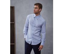 Hemd Slim Fit in Fischgrat mit Button-Down-Kragen