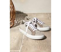 Sneakers aus Sparkling-Strick und Veloursleder