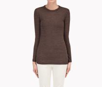 Brunello Cucinelli Langärmliges T-Shirt - T-Shirt Aus Woll-Jersey Mit Lurexstreifen